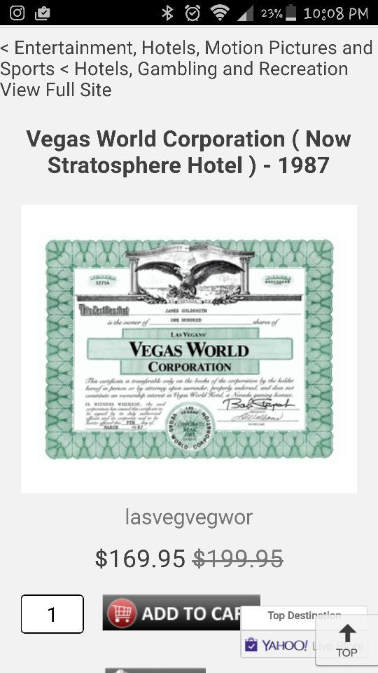1987 vegas world 100 shares stock certificate collectibles in las vegas nv offerup