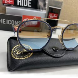 Rayban Round Gold Bridge Blue Circles Never Worn Comes With Everything  Thumbnail