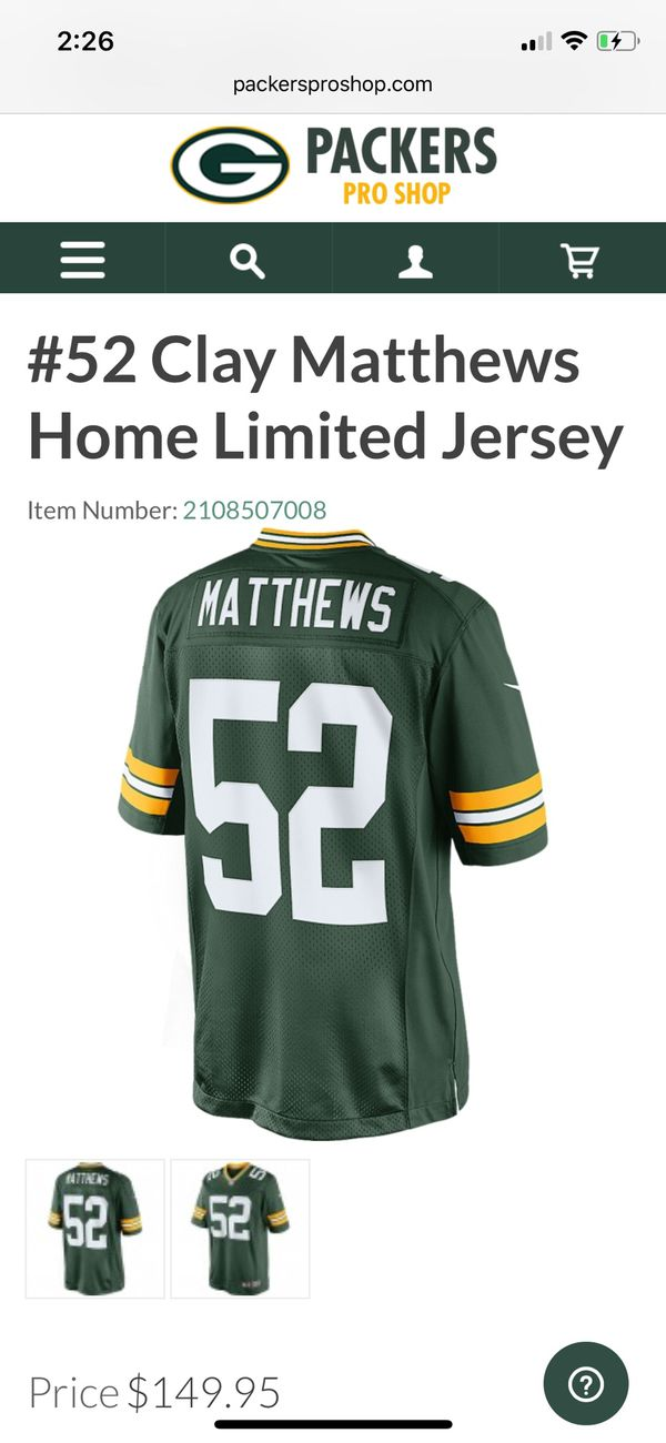 Clay Matthews limited green on field jersey brand new for Sale in Palm  Desert f9f822b9a