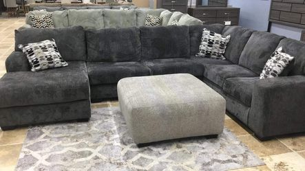 ♡NEW ASHLEY SMOKE LAF/RAF LARGE LIVING ROOM SECTIONAL, COUCH, 39 DOWN PAYMENT, FREE DELIVERY♡ Thumbnail