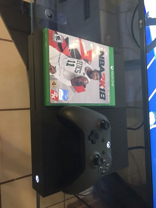 1TB Xbox one s with nba2k18 in excellent like new Condition army green with  matching wireless controller  for Sale in Ocoee, FL - OfferUp