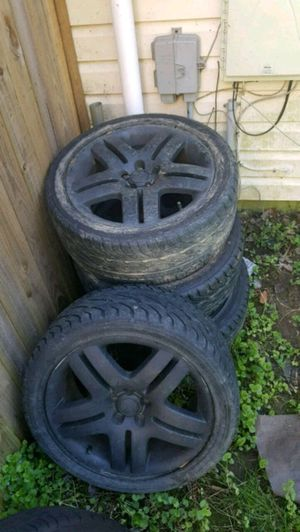 """2002 Volkswagen oringial tires... 5x100 long beaches. 17"""" plasti dip black. for Sale in North Bethesda, MD"""