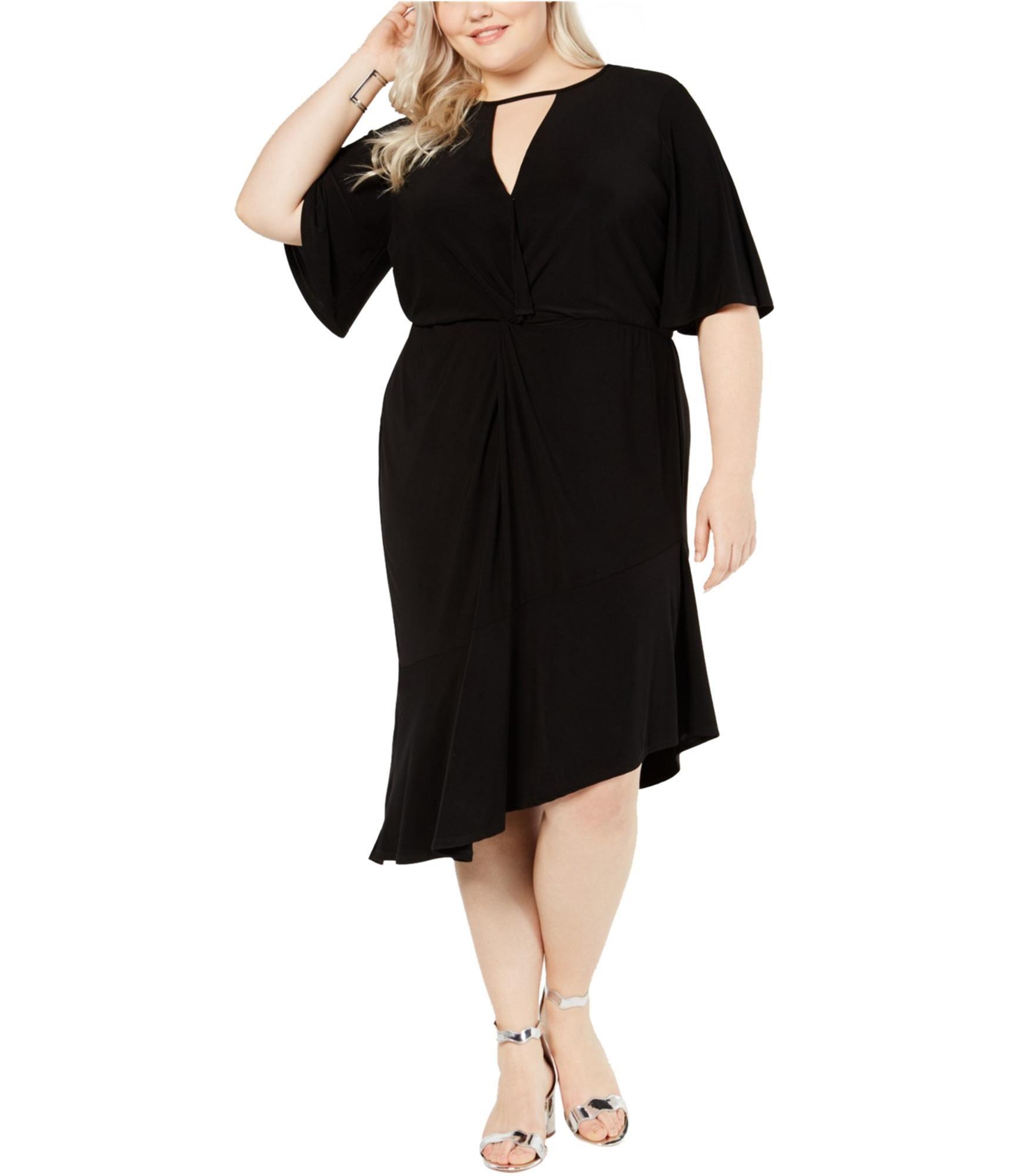Love Squared Womens Twist-Front Asymmetrical Cocktail Dress, Black, 2X