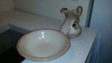 Vintage 1890's ironstone england washbowl and pitcher Thumbnail