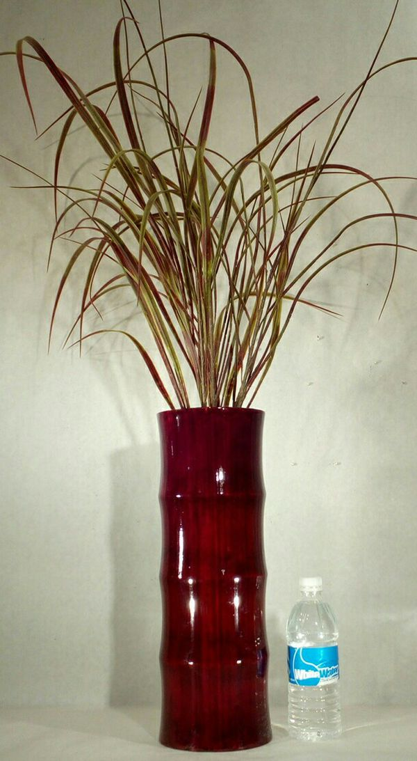 Large Bamboo Floor Vase With Fountain Grass Pickup Only 34x5
