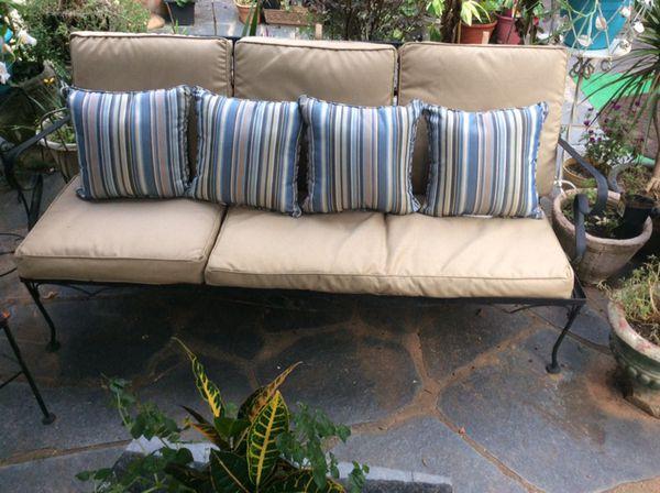 Vintage Wrought Iron Three Cushion Outdoor Sofa For In Atlanta Ga Offerup