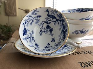 4 Blue Cairo Coalport Footed Teacups and one saucer for Sale in Chicago, IL