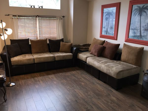 Suede Sectional Couch Set Of 2 Pieces