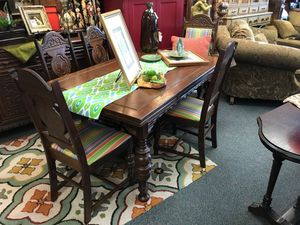 Vintage Oak Table with 6 Chairs, Striped Seats for sale  Tulsa, OK
