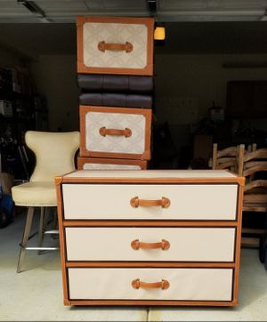 """Leather Travel Trunk Style Three Drawer Dresser, by Designer Mark David, 42""""W 20""""D 31""""T for Sale in Las Vegas, NV"""