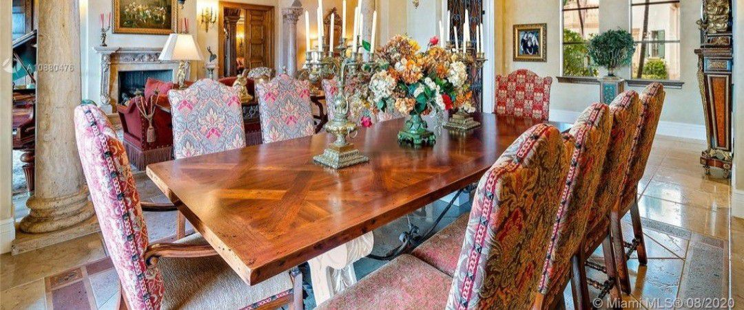 Custom Dinning Room Table, 116 Inches Long, Hand Crafted Chairs, Solid Wood And Limestone
