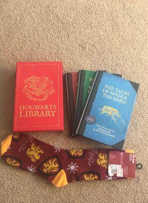 Harry Potter hog warts library and Gryffindor socks for Sale in Gaithersburg, MD