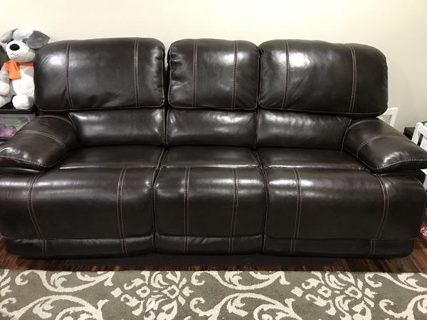 3 Seater Electric Recliner Leather Sofa with USB Port for Sale in ...