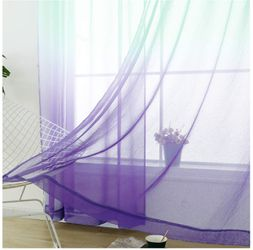 Sheer Curtains Mermaid Decor Reversible Lilac and Turquoise Voile Reversible Panels 100% Polyester Faux Linen Thumbnail