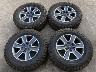 Ford Factory rims and BFG All Terrain KO2 Tires 6 Lug wheels 6x135 Bolt pattern BFGoodrich Ko 2 Rines y llantas 2017 F 150 Expedition 2016 F-150 rine Thumbnail