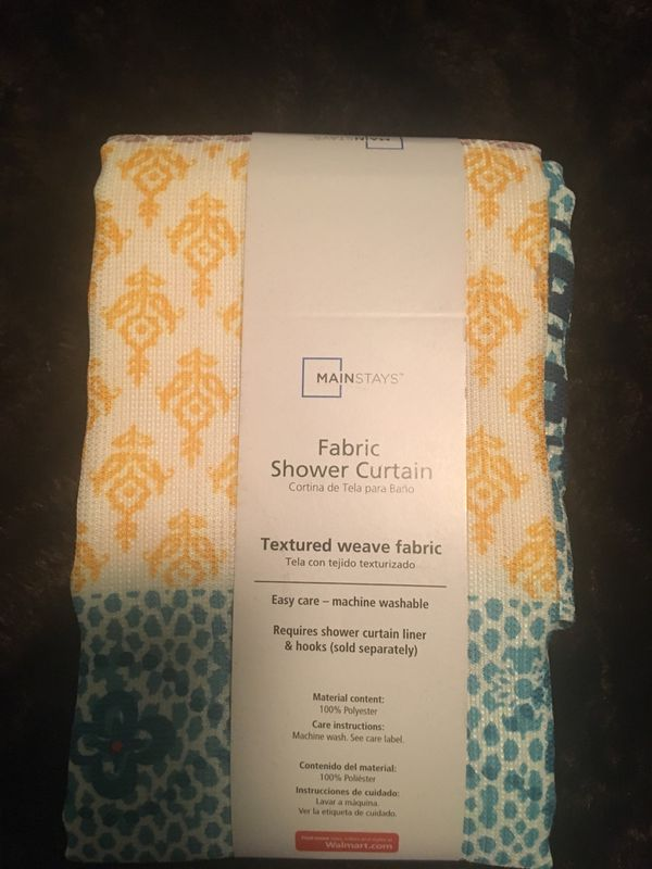 Mainstays Fabric Shower Curtain Requires A Plastic Liner And Hooks