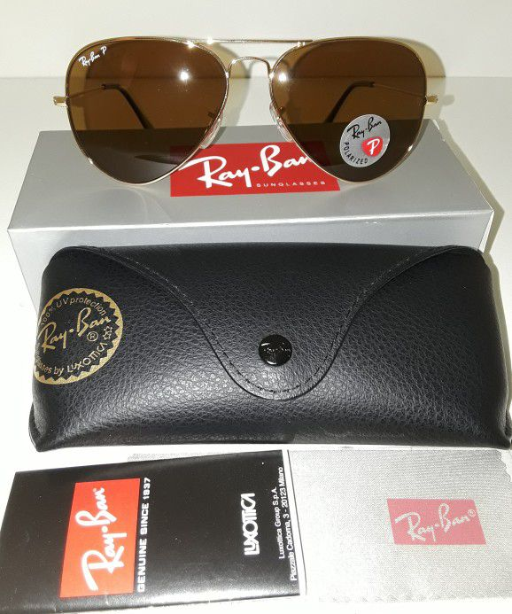 f1851fccc1 Ray ban aviator POLARIZED RB3025 size 62mm (LARGE) gold frame   brown  lenses Brandnew and Authentic deadstock never been worn (UNISEX) for Sale  in National ...