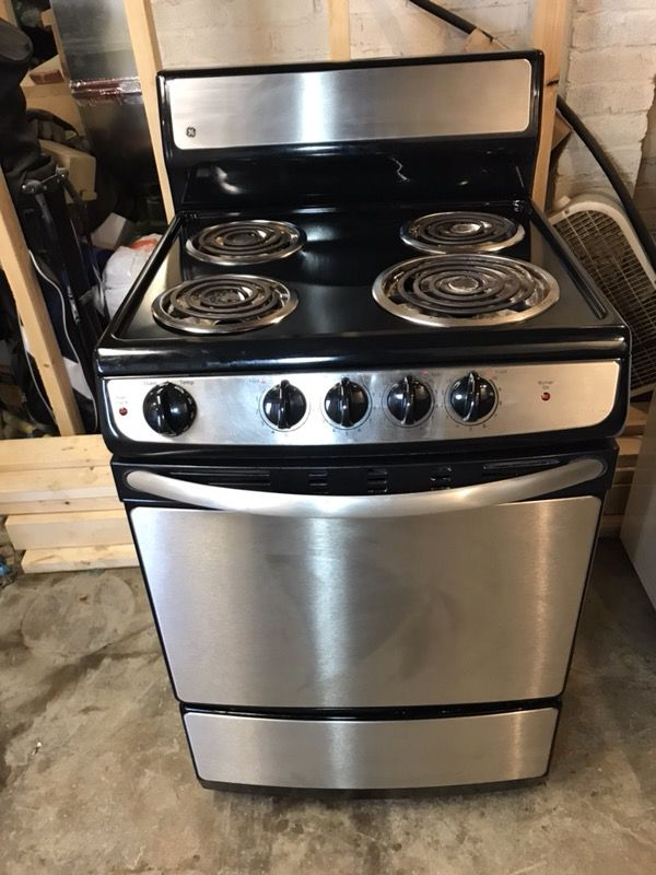 Stainless And Black Ge Apartment Size Stove