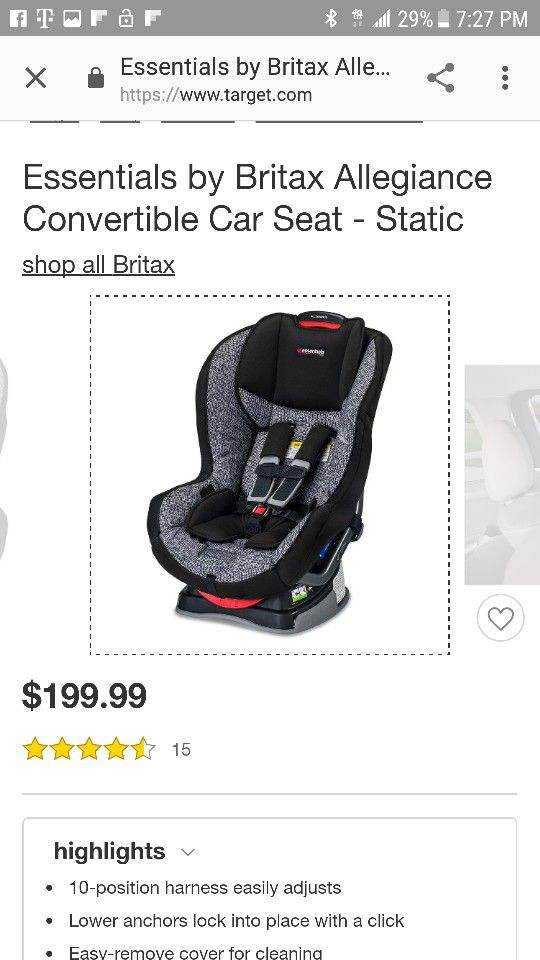 Essentials By Britax Allegiance Convertible Car Seat Static