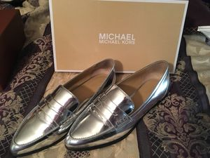 Michael kors silver Connor loafers size 8.5 worn once for Sale in Manassas, VA