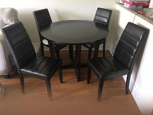 Round Wood & Glass Dining Table with 4 Cushioned Leather Chairs for Sale in Boca Raton, FL