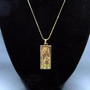 Vintage 18 Inch Religious Pendant Necklace Cross Goblet Jesus Costume Jewelry Fashion Statement Wedding Bohemian Elegant Bridal Theater Cute for Sale in Lynnwood, WA