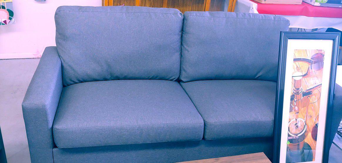 Beautiful grey fabric full size sofa new $149.99