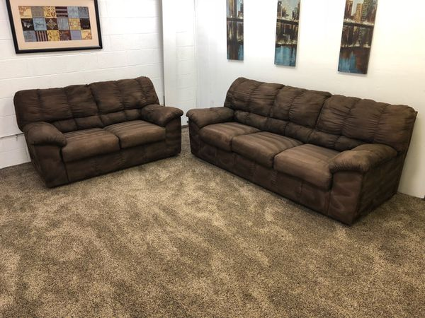 1233- Dark Brown Microfiber Sofa And Love Seat Set for Sale in ...