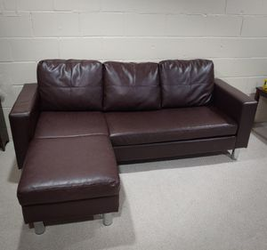 Photo Faux Leather Sectional Couch