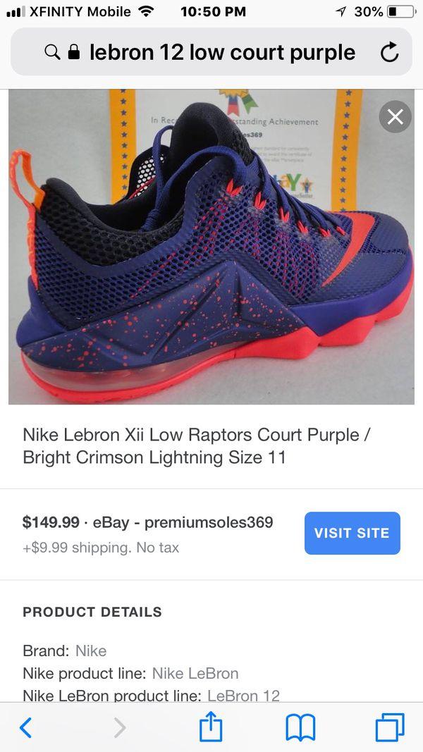 detailed look 0d4a7 783df Men s size 10 Nike Lebron Xii Low Raptors Court Purple   Bright Crimson  Lightning