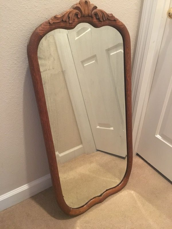Antique Mirror With Solid Wood Frame Some Antiqued Black Spots On