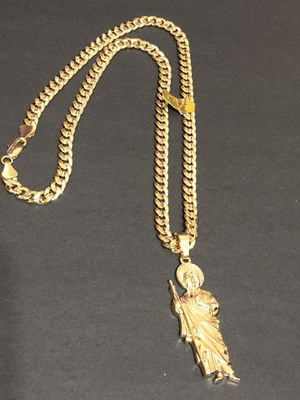 Curb Cuban link diamond cut GOLD PLATED OVER BRASS Necklace 24inches in length With St.Jude Charm for Sale in Orlando, FL