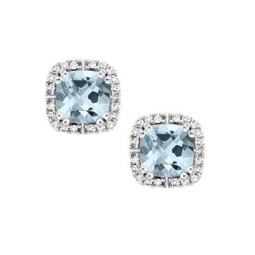 Aquamarine Diamond March Birthstone Earrings in 10K White Gold