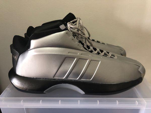 8b5db7b941f0 Adidas Crazy 1 Kobe Bryant Basketball Shoes 🏀 C75736 Silver Black Sz 13