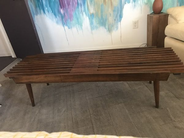 den coffee nelson or wood is located when table a inside slat that bench living piece style george vital mid century setting room pin