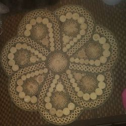 THIS HAS NOT BEEN SOLD, I DON'T KNOW WHY THIS HAD BEEN MARKED SOLD, MY APOLOGIES🌹VINTAGE 1970's BOHO JUTE MAT 3x3 ft In PERFECT CONDITION Thumbnail