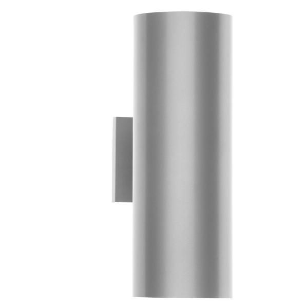 """Cylinder Collection 5"""" Metallic Gray Modern Outdoor Up/Down Wall Lantern Light"""