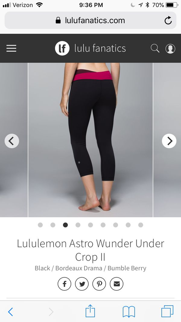 a245ad890b Lululemon Astro Wunder Under Crop II Black   Bordeaux Drama   Bumble Berry  for Sale in Auburn