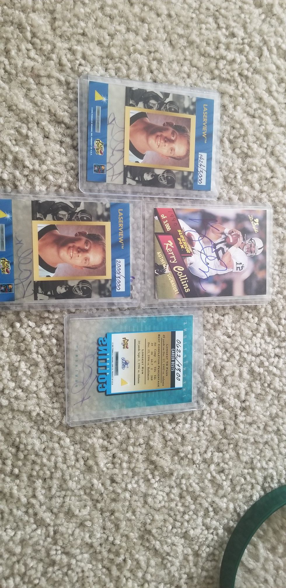 Kerry Collins Auto collection - football cards