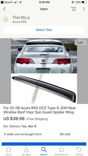 For 02-06 Acura RSX DC5 Type-S JDM Rear Window Roof Visor Sun Guard Spoiler Wing for Sale in Arlington, VA