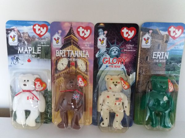 (4) Ronald McDonald ty Beanie Babies  Britannia d5293260182f