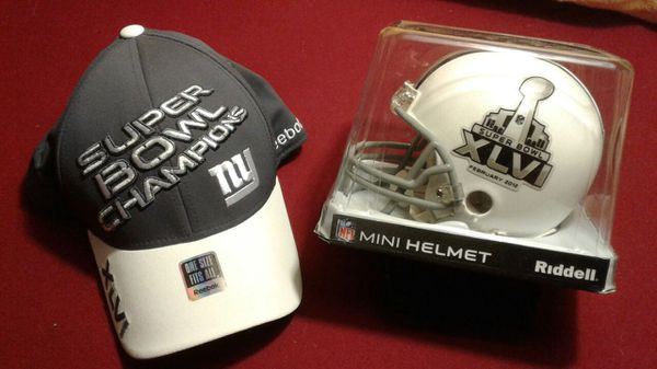dd77ce7cd9536 Super Bowl XLVI Mini Helmet and NY Giants Locker Room Hat for Sale ...