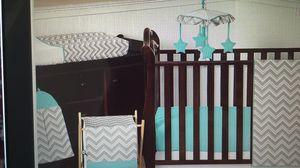 Baby/ Toddler Bedding— grey chevron/aqua. for Sale in Austin, TX