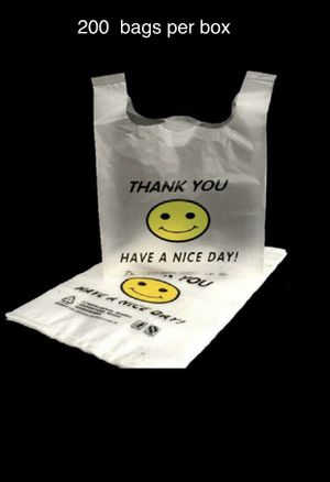 Large Happy Face retail Plastic Bags 1/6 Clear 180 per box t-shirt bag business supplies for Sale in Chicago, IL