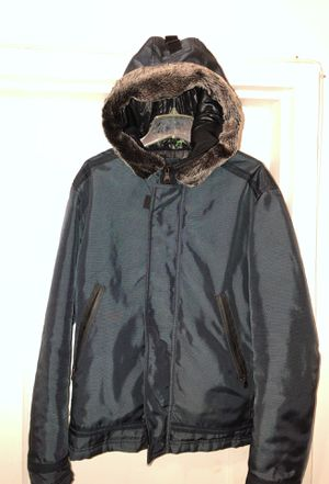 Men's Zara coat navy blue with fur around the hood size xl slim fit for Sale in Arlington, VA