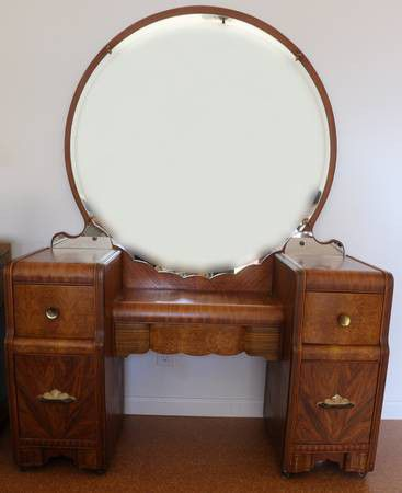 Art Deco Waterfall Vanity With Round Mirror For Sale In Davis Ca
