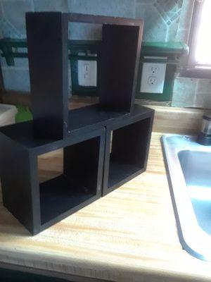 Photo 3 Square Shelf/ Wall Decor ( Black ) 10. ( 4 x 8 x 8 & the 2 little ones are, 5 x 7 x 7 )