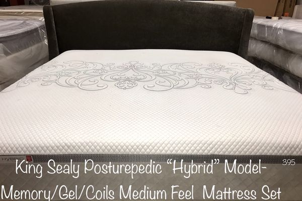King Sealy Posturepedic Hybrid Trust Model Memory Gel Coil Layered Mattress Set