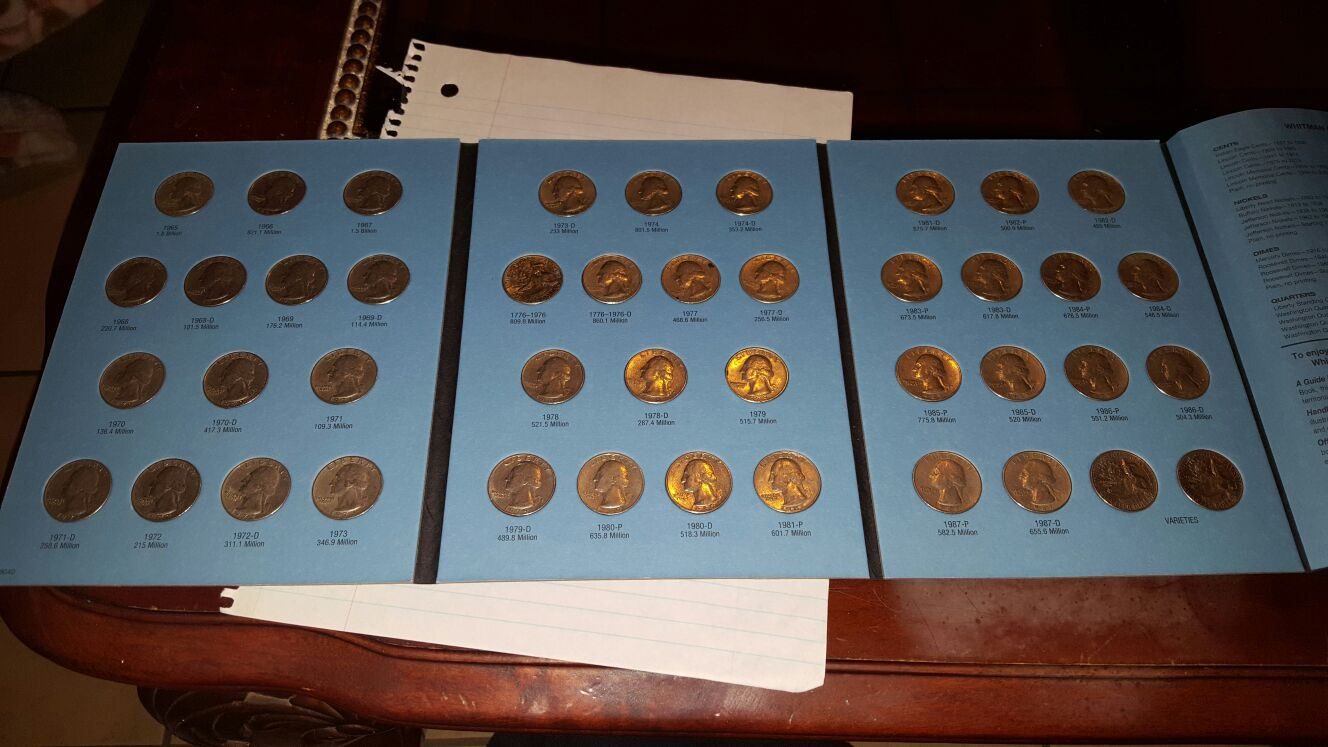 Washington quarter collection 1965 to 1987 complete