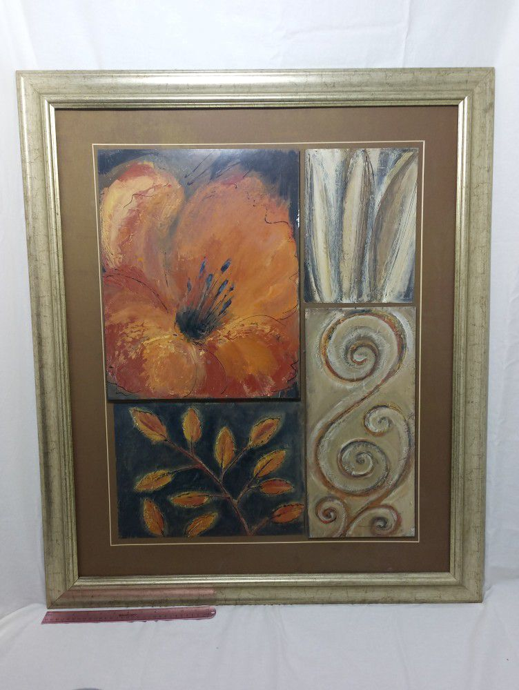 Lrg. Decorative Picture With Flower Theme. 33×39in.